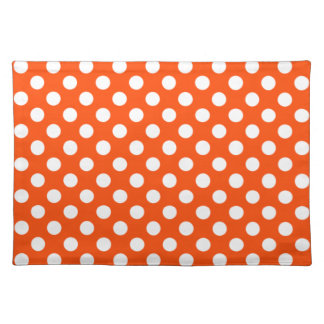 Orange and White Polka Dot Placemats