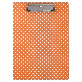 Orange and White Polka Dots Clipboard