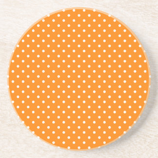 Orange and White Polka Dots Drink Coaster