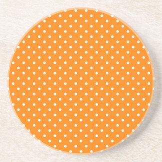 Orange and White Polka Dots Drink Coaster