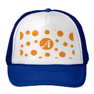 Orange and White Polka Dots Monogram Trucker Hat
