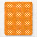 Orange and White Polka Dots Mousepads