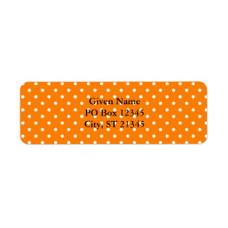 Orange and White Polka Dots Return Address Label