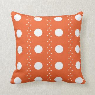 Orange and White Polkadot Stripes Cushion
