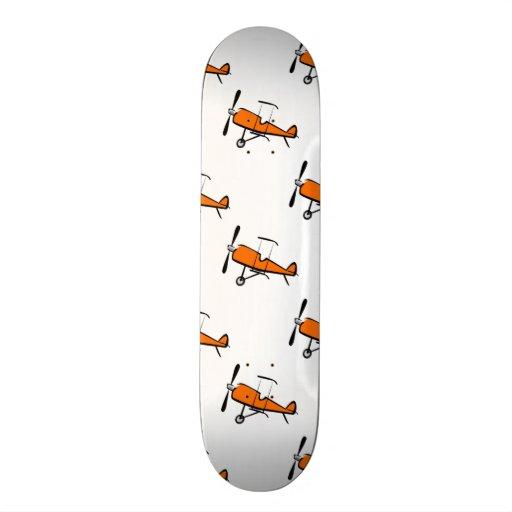 Orange and White Prop Biplane; Small Plane Custom Skateboard