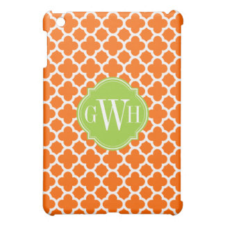 Orange and White Quadrefoil Pattern Monogram Cover For The iPad Mini