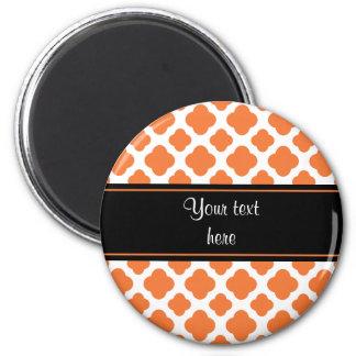 Orange and White Quatrefoil Pattern 6 Cm Round Magnet