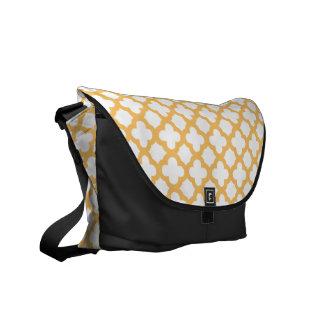 Orange and White Quatrefoil Pattern Commuter Bags