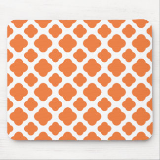 Orange and White Quatrefoil Pattern Mouse Mat