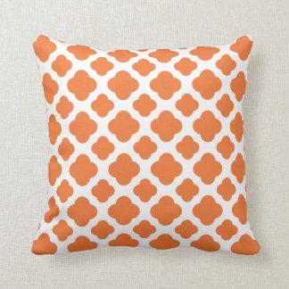 Orange and White Quatrefoil Pattern Throw Pillow