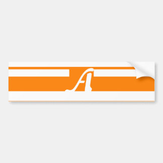 Orange and White Random Stripes Monogram Car Bumper Sticker