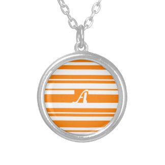 Orange and White Random Stripes Monogram Custom Necklace