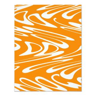 """Orange and White Retro Pattern. 4.25"""" X 5.5"""" Invitation Card"""