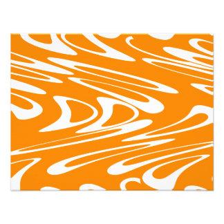 Orange and White Retro Pattern Personalized Announcement