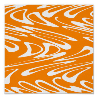 Orange and White Retro Pattern. Poster