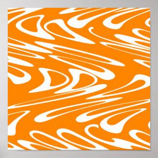 Orange and White Retro Pattern. Poster
