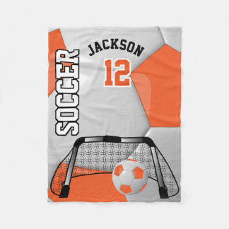 Orange and White Soccer Ball with DIY Text Fleece Blanket