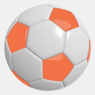 Orange and White Sporty Soccer Ball Round Sticker