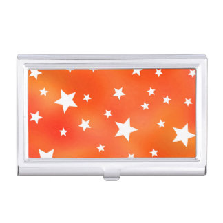 Orange and White Star Pattern Business Card Holder