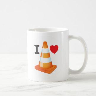 Orange and White Stripe Traffic Cone Love Heart Basic White Mug