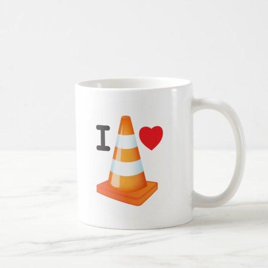 Orange and White Stripe Traffic Cone Love Heart