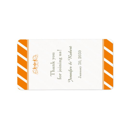 Orange and White Stripe Wedding Lip Balm Label