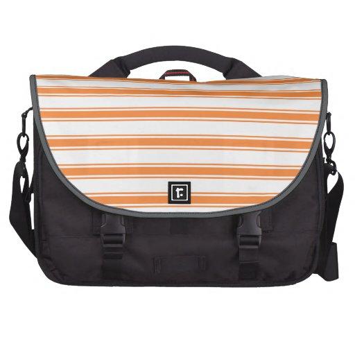 Orange and White Stripes; Striped Laptop Bag