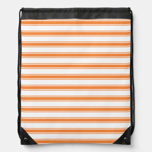 Orange and White Stripes; Striped Drawstring Bags