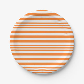 Orange and White Stripes X 3 Paper Plate