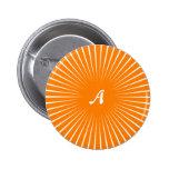 Orange and White Sunrays Monogram Pin