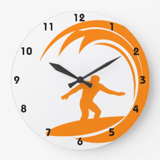 Orange and White Surfing Large Clock