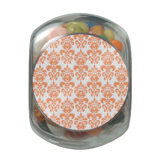 Orange and White Vintage Damask Pattern 2 Glass Jars