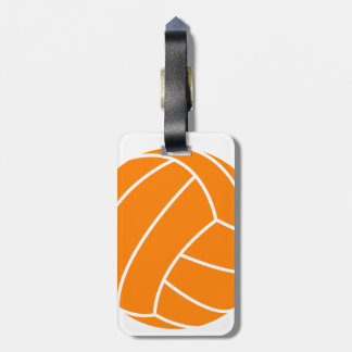 Orange and White Volleyball Luggage Tag