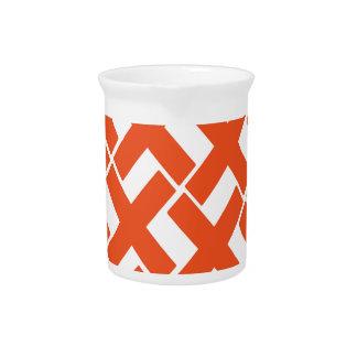 Orange and White Xs Pitcher