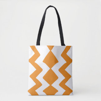 Orange and White ZigZag Design Tote Bag