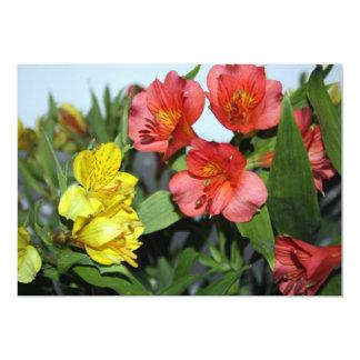 "Orange and Yellow  Alstroemeria Flower Invitation 5"" X 7"" Invitation Card"
