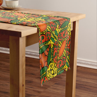 Orange And Yellow Butterfly Pattern Short Table Runner