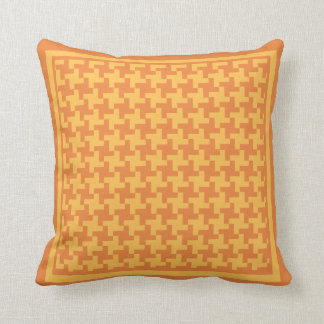 Orange and Yellow Dogtooth Check Pattern Cushion