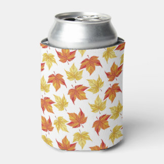 Orange and Yellow Fall Leaves Can Cooler