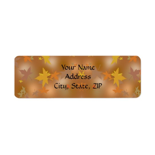 Orange and Yellow Fall Leaves on Taupe Return Address Label