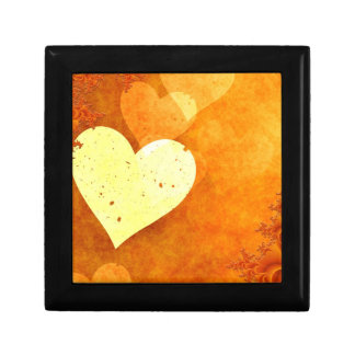 Orange and Yellow Floating Hearts Small Square Gift Box