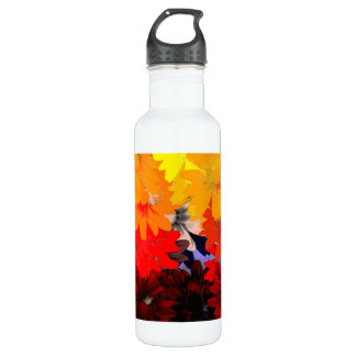 Orange and yellow floral 710 ml water bottle