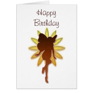Orange and Yellow Flower Fairy Silouette Card