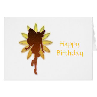 Orange and Yellow Flower Fairy Silouette Greeting Card