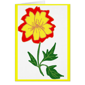 Orange and yellow flower greeting card
