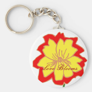 Orange and yellow flower, Love Blooms key chain