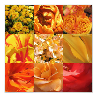 Orange and yellow Flowers 13 Cm X 13 Cm Square Invitation Card