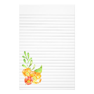 Orange and Yellow Flowers Lower Left Lined Paper Stationery