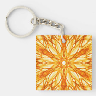Orange and Yellow Fractal Art Square Acrylic Key Chains