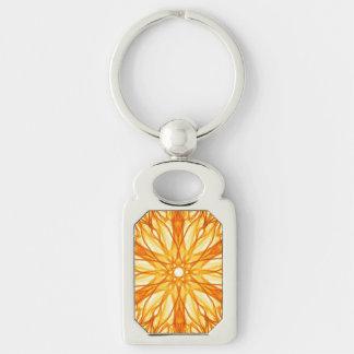 Orange and Yellow Fractal Art Keychain